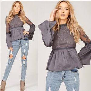 Charlotte Embroidered Lace Top- Charcoal